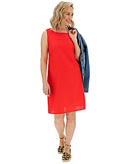 Red Easycare V Back Linen Dress