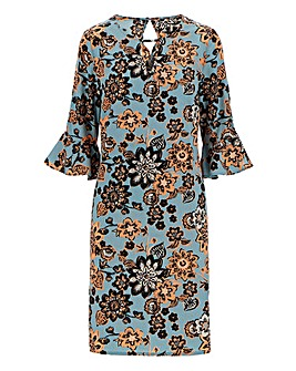 Folk Print Ruched Sleeve Shift Dress