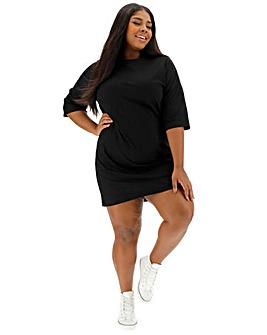 Black Dropped Shoulder T Shirt Dress