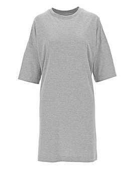 Grey Dropped Shoulder T Shirt Dress