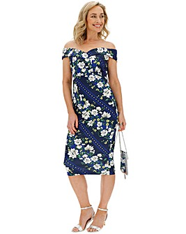 Navy Floral Scuba Bodycon Dress