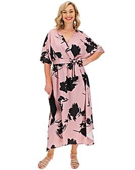 Nude Floral Wrap Front Kimono Dress