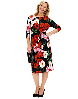 Red Floral Tie Front Midi Dress