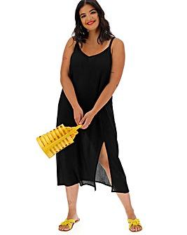 Black Crinkle Cami Dress