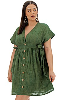 57de3e0b9f7 Khaki Button Through Sun Dress