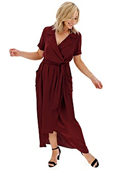 Aubergine Hi Lo Hem Utility Dress