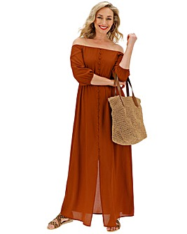 Paprika Bubble Sleeve Bardot Dress