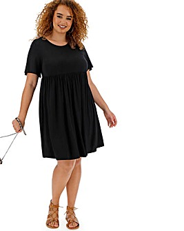 Black Angel Sleeve Smock Dress