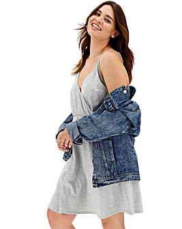 Grey Marl Strappy Wrap Skater Dress