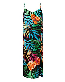 Tropical Print Crinkle Cami Dress