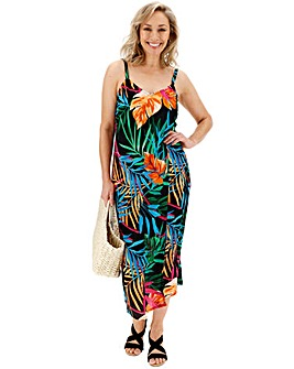 Tropical Print Crinkle Cami Dress