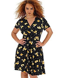 Lemon Print Wrap Skater Dress