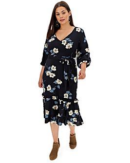 Frill Hem Tiered Boho Midi Dress