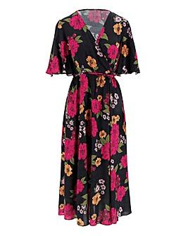 Black Floral Full Skirt Skater Dress