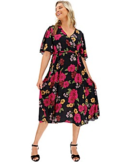 Black Floral Midi Wrap Skater Dress