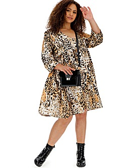 Animal Print Smock Dress With Pockets
