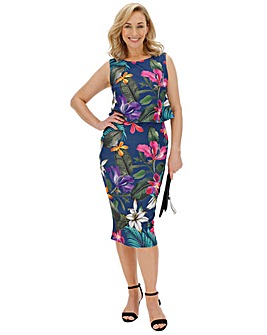 Tropical Print Double Layer Dress