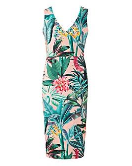 Pink Print Wrap Front Scuba Dress