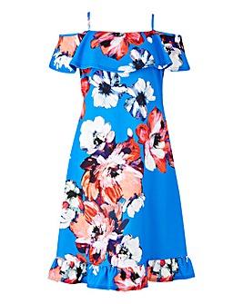 Floral Cold Shoulder Swing Dress