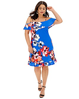 Floral Cold Shoulder Swing Dress