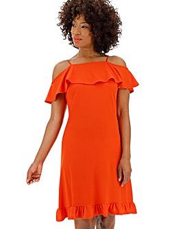 Red Cold Shoulder Swing Dress