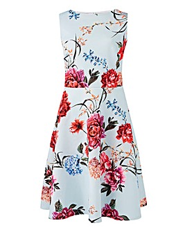 Mint Floral Printed Prom Dress