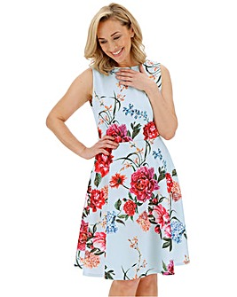 Mint Floral Printed Prom Dress