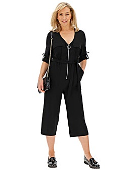 Black Zip Down Culotte Jumpsuit