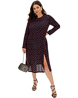 Polka Dot Print Satin Midi Dress