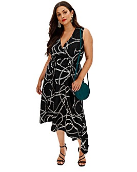 Chain Print Midi Wrap Dress