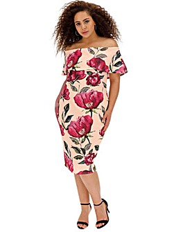 Floral Bardot Bodycon Midi Dress