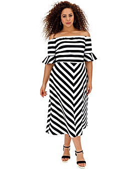 Mono Stripe Bardot Occcasion Dress