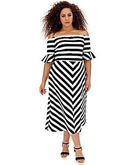Mono Stripe Bardot Occcasion Dress