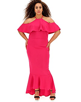 Pink Cold Shoulder Fishtail Dress