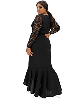 Black Lace Fishtail Dress