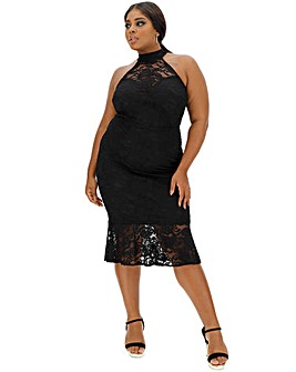 Black Peplum Lace Dress