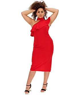 Red Ruffle Shoulder Boydcon Dress