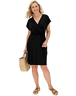 Black Wrap Front Short Dress