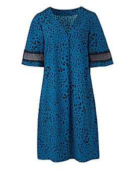 Polka Dot Printed V Neck Shift Dress