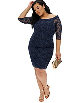 Navy Lace Bardot Dress