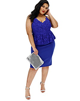 Cobalt Lace Peplum Slip Dress