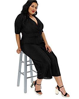Black Plisse Wrap Culotte Jumpsuit