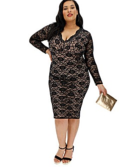Lace Long Sleeve V Neck Dress