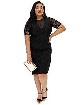 Black Lace Mesh Short Sleeve Dress