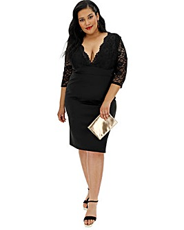Black Lace Long Sleeve Bodycon Dress