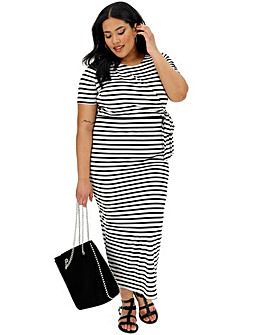 White Stripe Knot Maxi Dress