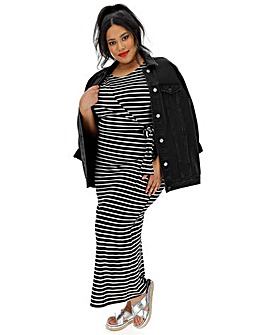Stripe Knot Maxi Dress