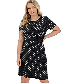 Black Polka Dot Wrap Skater Dress