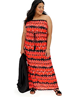 Red Tie Dye Bandeau Maxi Dress
