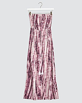 Purple Tie Dye Bandeau Maxi Dress